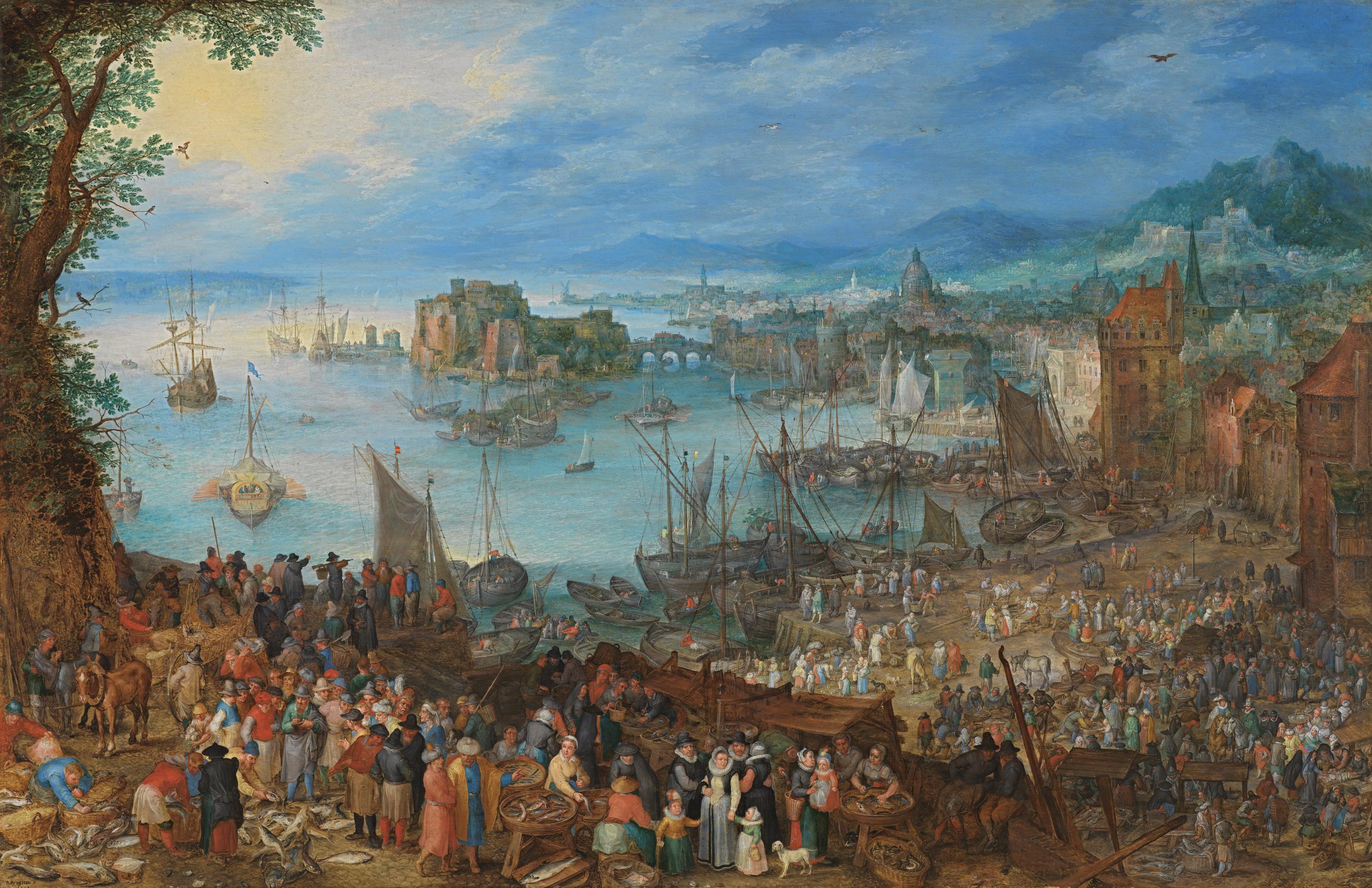 Great fish market, by Jan Brueghel the Elder